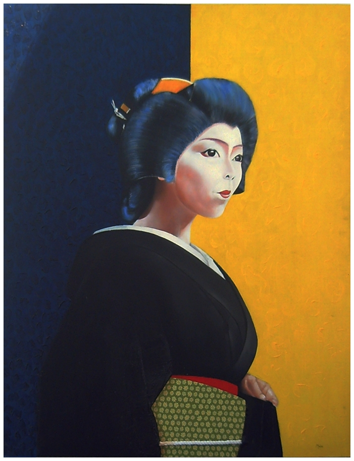 Portrait of maiko with yellow and blue background and dark kimono with obi or sash fabric with floral ornaments