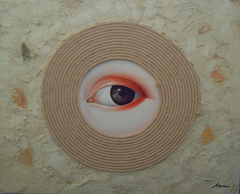 Oil painting of an eye in a rope that symbolizes a broken heart