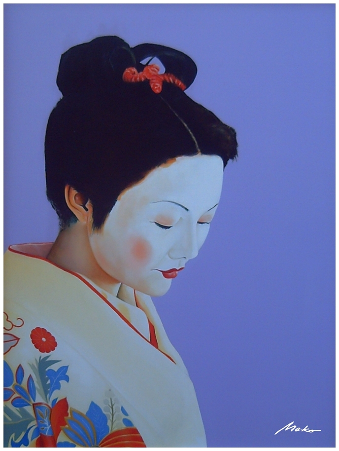 Portrait of an apprentice geisha in thoughtful pose, mauve background and bright white on her silk kimono