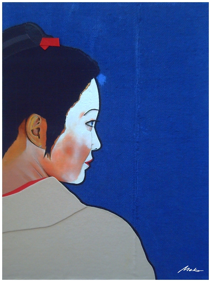 Profile portrait of maiko with a blue burlap background and beige fabric kimono