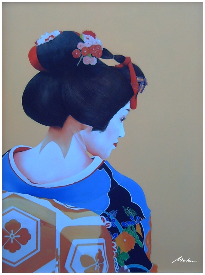 Profile portrait of apprentice geisha with ocher background and sky blue kimono with lots of floral patterns