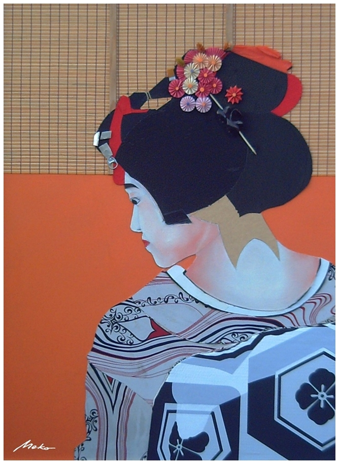 Portrait of maiko made with collage of fabrics and other materials such as cardboard, blinds, etc ...