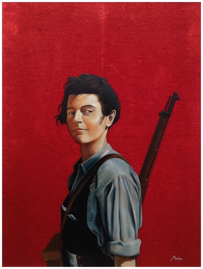 Oil painting on red background on burlap of a militiawoman in the Spanish Civil War