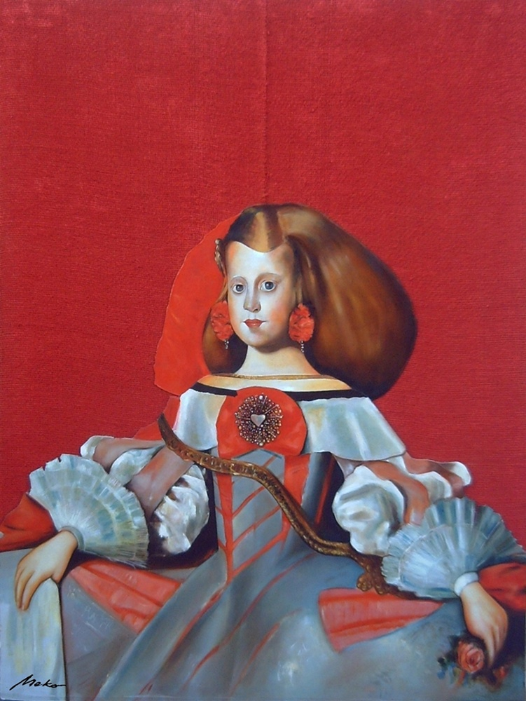 Studies from Prado Museum. Oil painting of an infanta of Spain on red background on burlap