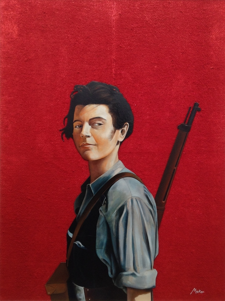 1936. Oil painting on red background on burlap of a militiawoman in the Spanish Civil War