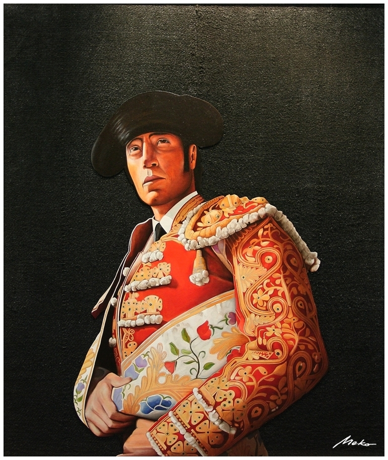 The Paseillo: Bullfighter waiting to begin the bullfight. Oil painting on black background on burlap