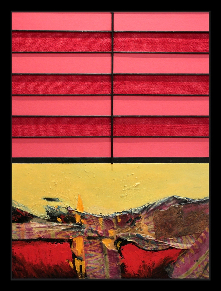 Informalist abstract painting of yellow and red colors that pays homage to the Spanish painter Pablo Picasso