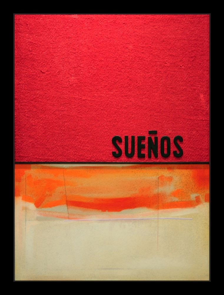 Abstract Expressionist painting of warm colors orange on red burlap that pays homage to the Spanish painter of the New York School Esteban Vicente