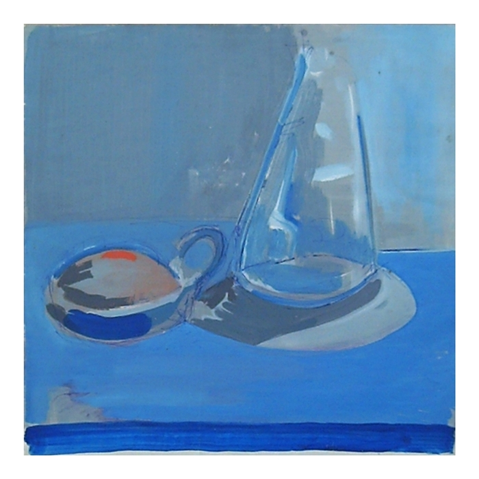 Preparatory sketch. Still life with cup and bottle in blue shades